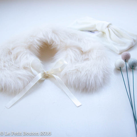 "Luxe Faux Fur Collar ""Marcella"" French Creme' - Le Petit Bouton"