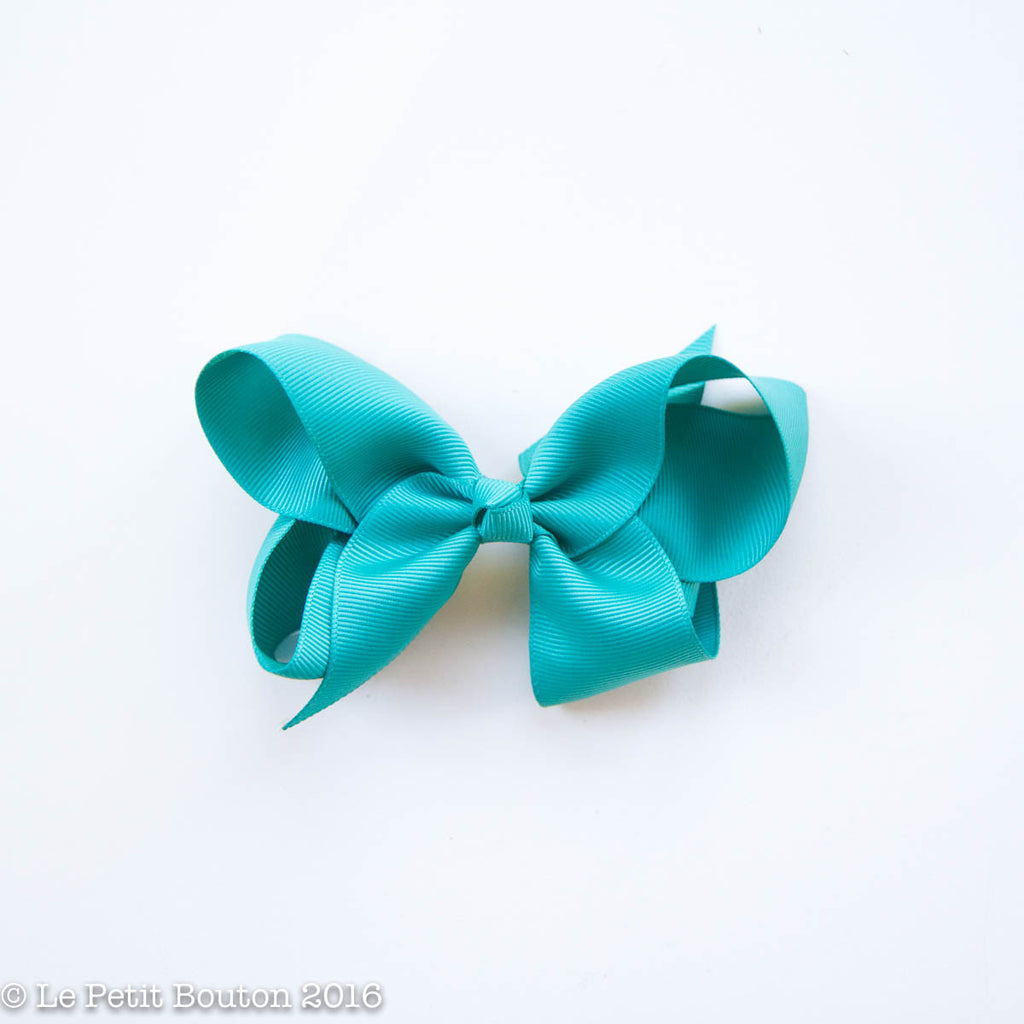 "Medium Bow Hairclip ""Loren"" Teal - Le Petit Bouton"