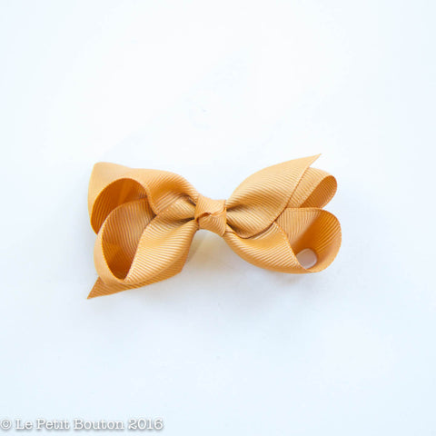 Small Grosgrain Ribbon Bow Clip - Mustard