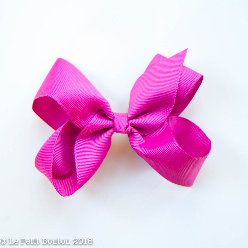 "Medium Ribbon Bow Hairclip ""Tarra"" Raspberry rose - Le Petit Bouton"
