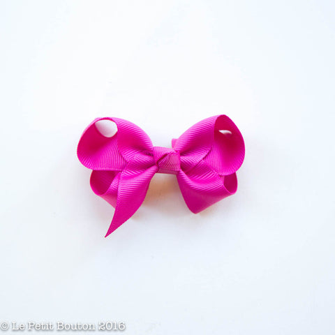 "Small Ribbon Bow Hairclip ""Betty"" Raspberry Rose - Le Petit Bouton"