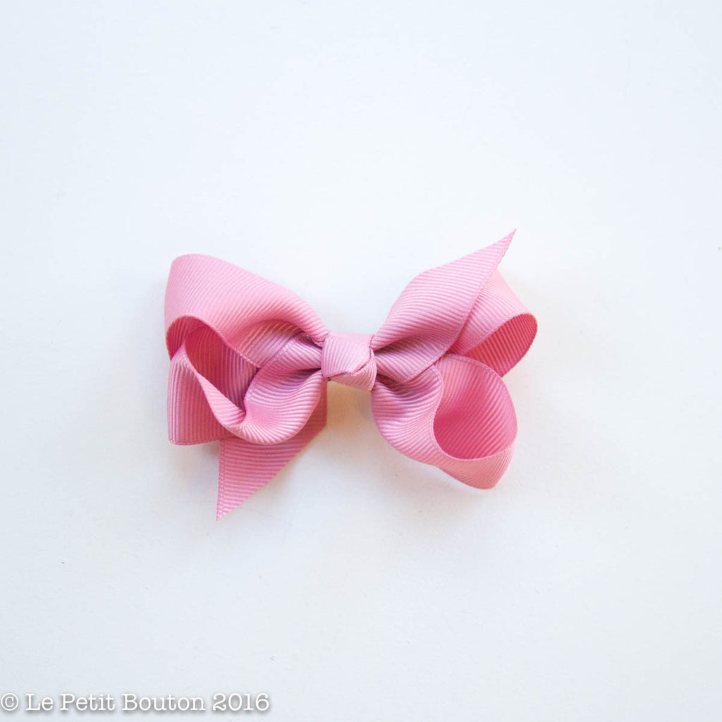 "Small Ribbon Bow Hairclip ""Milan"" Plush Pink - Le Petit Bouton"