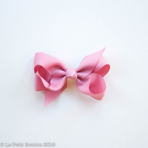 "Small Ribbon Bow Hairclip ""Milan"" Plush Pink"