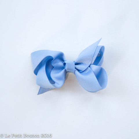 Small Grosgrain Ribbon Bow Clip - Dusty Blue