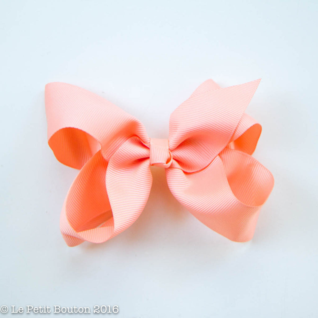 "Medium Ribbon Bow Hairclip ""Paula"" Peach - Le Petit Bouton"