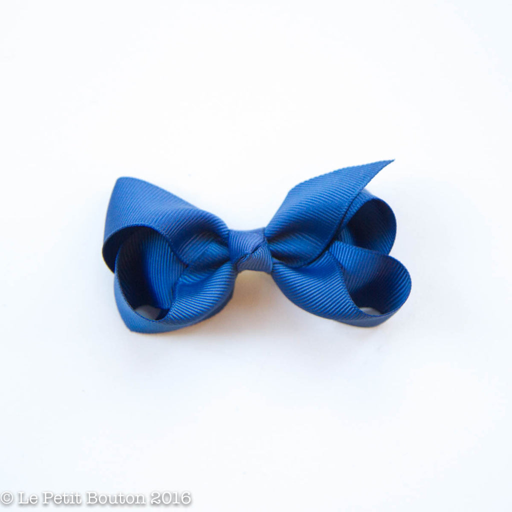 "Small Ribbon Bow Hairclip ""Andrea"" Light Navy - Le Petit Bouton"