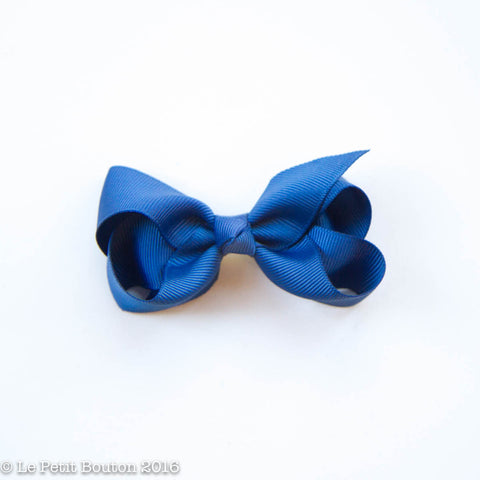 "Small Ribbon Bow Hairclip ""Andrea"" Light Navy"