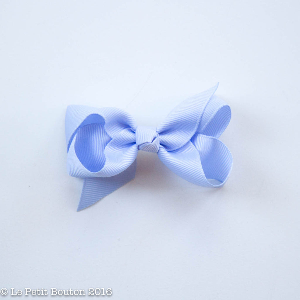 "Small Ribbon Bow Hairclip ""Noelia"" French Blue - Le Petit Bouton"