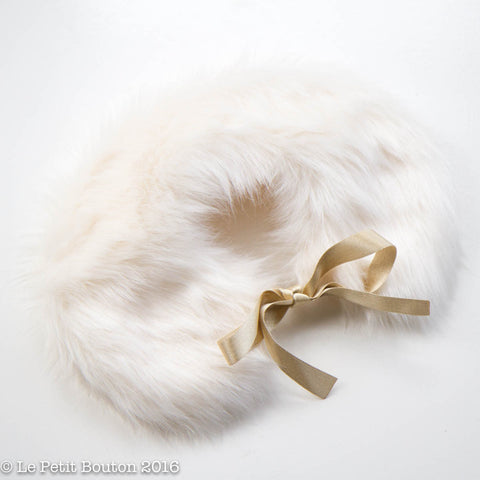"Luxe Faux Fur Collar ""Lorena"" French Creme' & Vintage Gold"