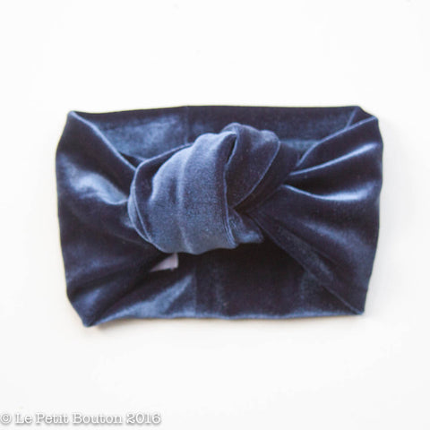 "Luxe Velvet Knotted Turban ""sasha"" Extra Wide, Soft Navy"