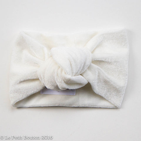 "Luxe Velvet Knotted Turban ""Carlie"" Extra Wide, French Creme'"