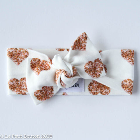 Valentines Organic Cotton Bow Knot Headband - Rose Gold Hearts