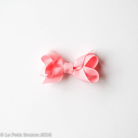 Petit Grosgrain Ribbon Bow Clip - Pink Rose