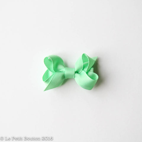 Petit Grosgrain Ribbon Bow Clip - Spearmint
