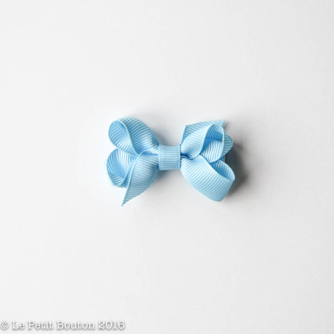 Petit Grosgrain Ribbon Bow Clip - Light Blue