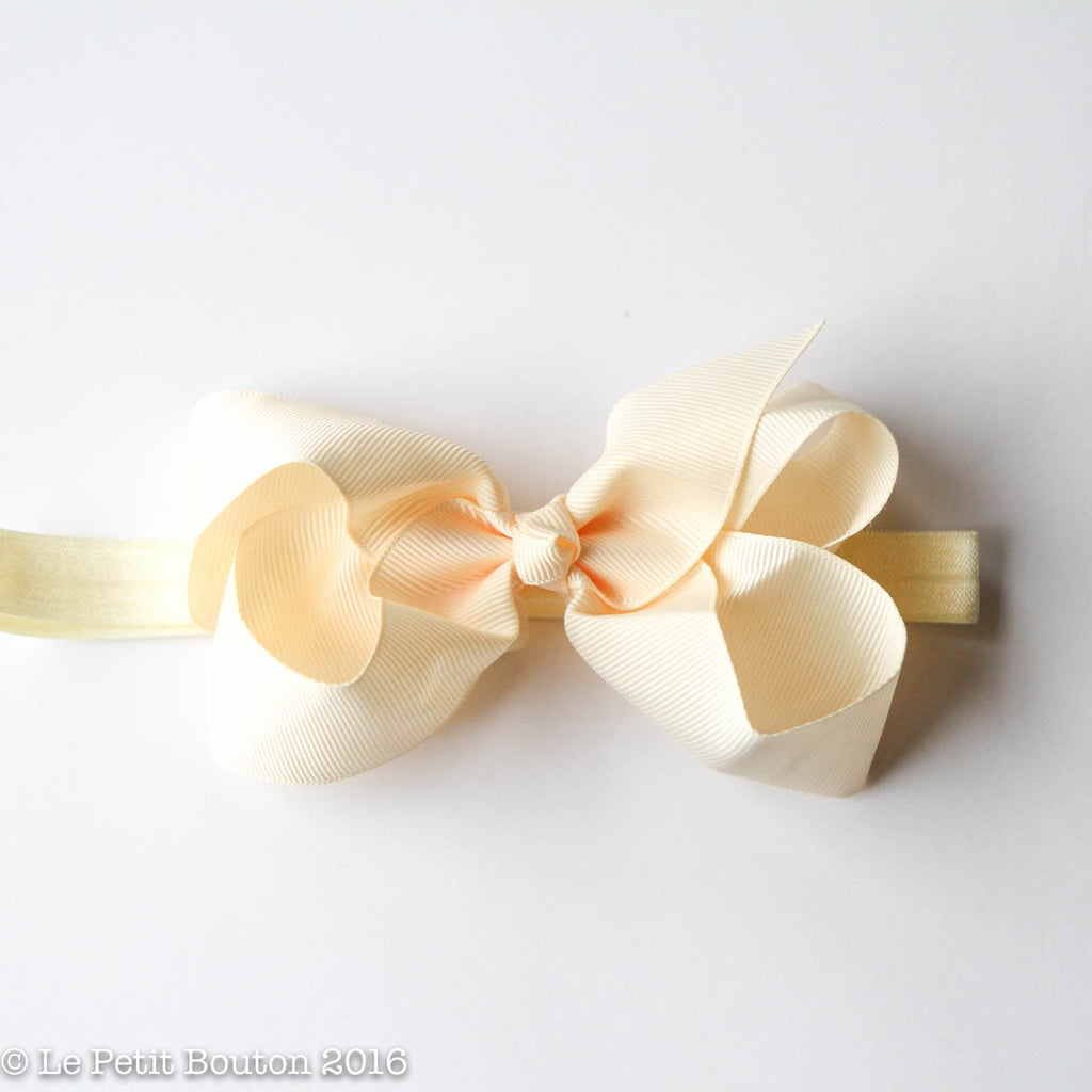 SS17 Medium bow headband 'Beatrice' Buttermilk - Le Petit Bouton