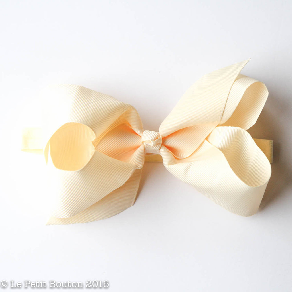 ss17 Large Bow Headband 'Bessie' Buttermilk - Le Petit Bouton