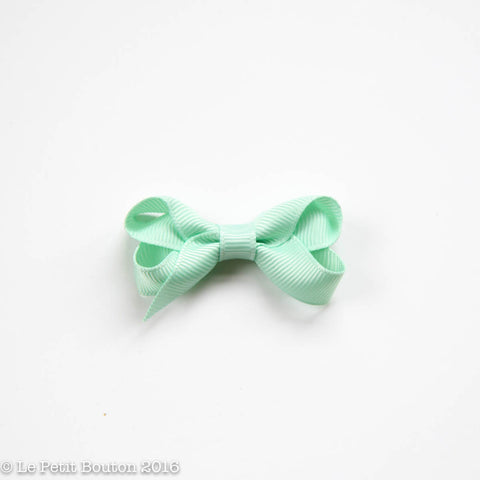 Petit Grosgrain Ribbon Bow Clip - Mint