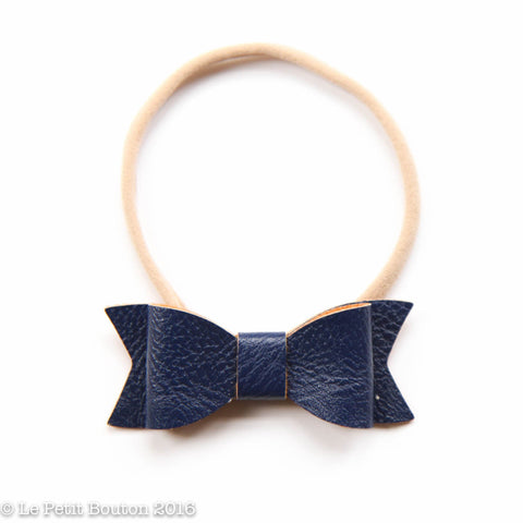 "SS17 Faux Leather Bow ""Lara"" Small Bow Navy"