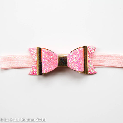 "SS17 Faux Leather Bow Headband ""Ammie"" Gold Glitter Pink Large"