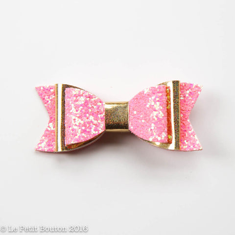 "SS17 Faux Leather Bow Clip ""Bonnie"" Gold Glitter Pink Large"
