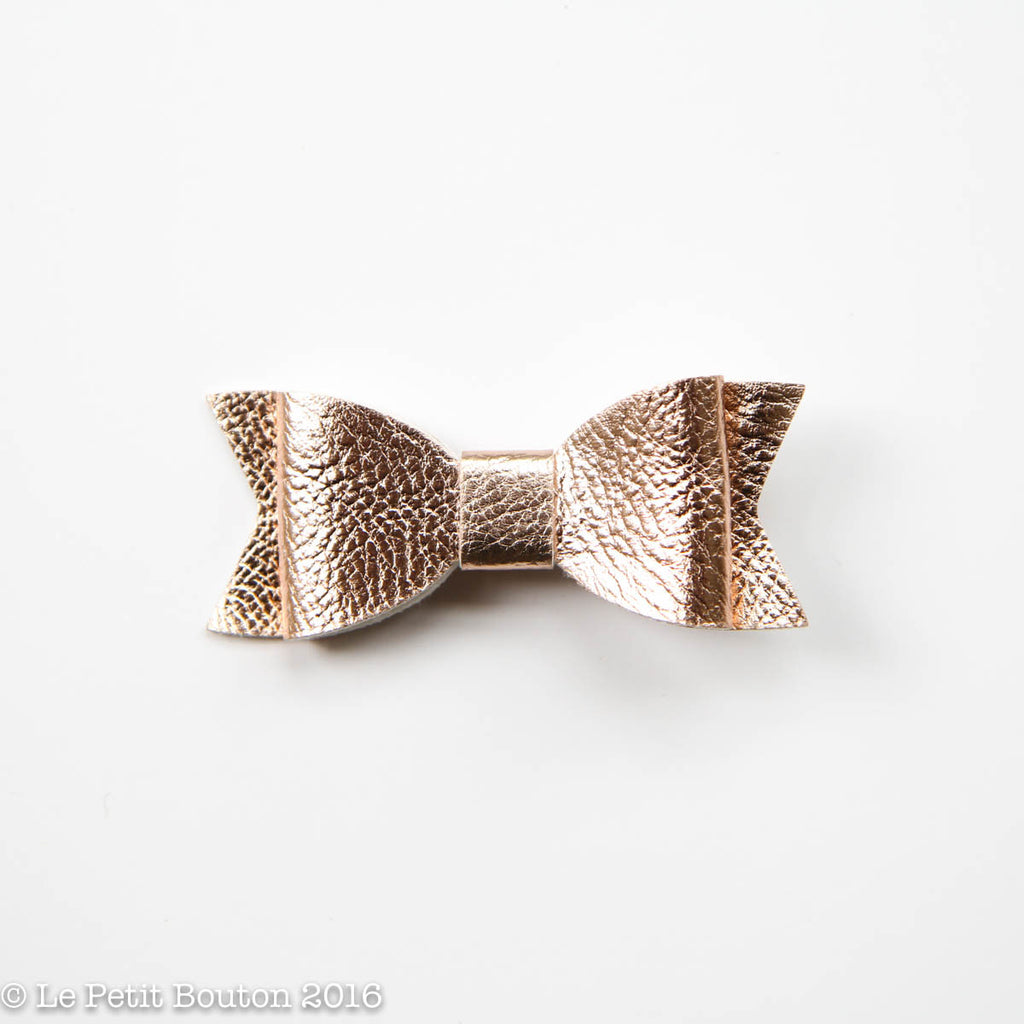 "SS17 Faux Leather Bow Clip ""Laila"" Small & Large Rose Gold - Le Petit Bouton"
