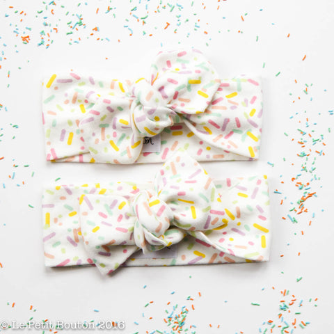 LTBL Organic Cotton Bow Knot Headband- Sprinkles - LAST 1