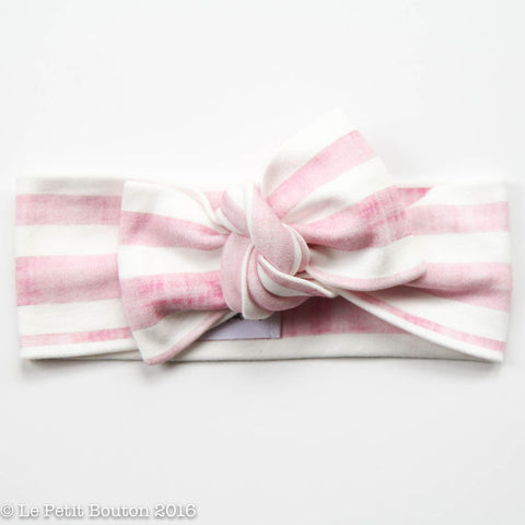 Organic Cotton Bow Knot Headband - Pink Candy Stripe - LAST 2
