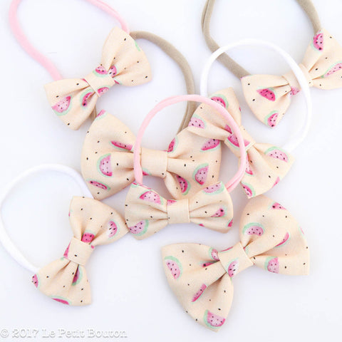 HS17 EXCLUSIVE Watercolor Watermelon Small Linen Bow Headband