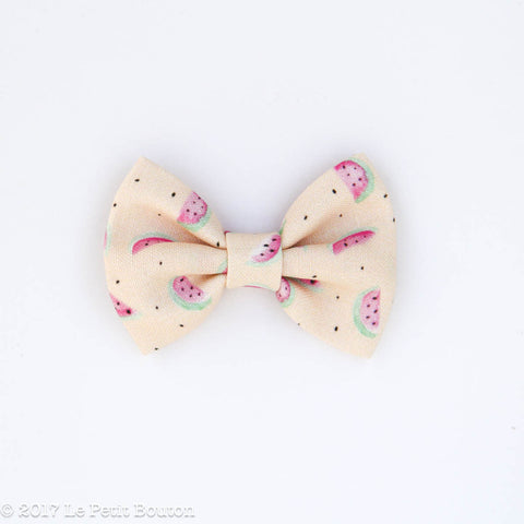 HS17 EXCLUSIVE Watercolor Watermelon Linen Bow Clip