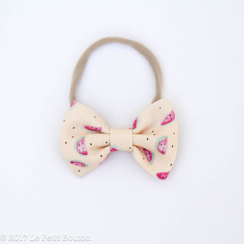 HS17 EXCLUSIVE Watercolor Watermelon Large Linen Bow Headband - Le Petit Bouton