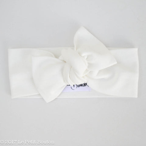 HS17 White Organic Cotton Bow Knot Headband