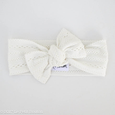 HS17 Boho White Bow Knot Headband