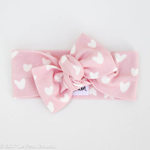 Organic Cotton Valentines Bow Knot Headband - Candy Pink
