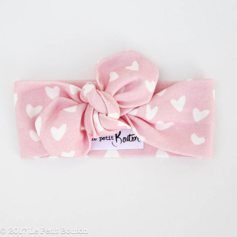 Organic Cotton Valentines Top Knot Headband - Candy Pink