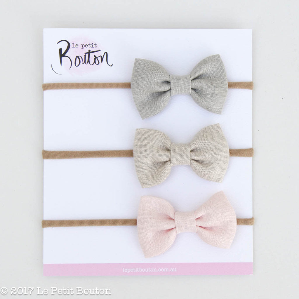 HS17 3 Linen Bow Set Wonder & Whimsy - Le Petit Bouton