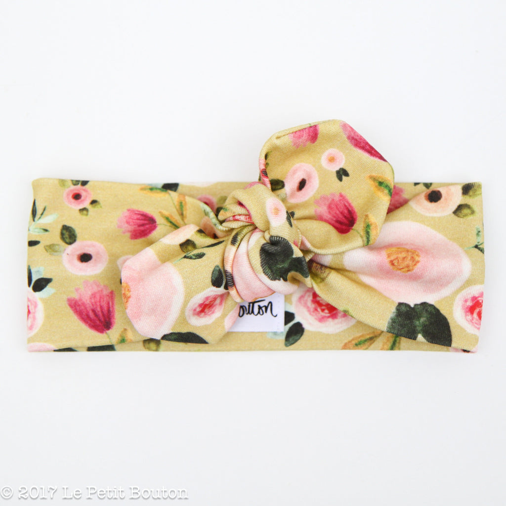 '18 Organic Cotton Top Knot Headband - Mustard Floral