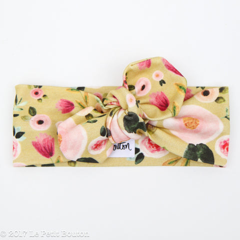 Organic Cotton Top Knot Headband - Mustard Floral