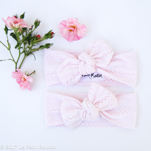 A17 Boho Lace Bow Knot Headband Hand Dyed Fairy Floss Pink