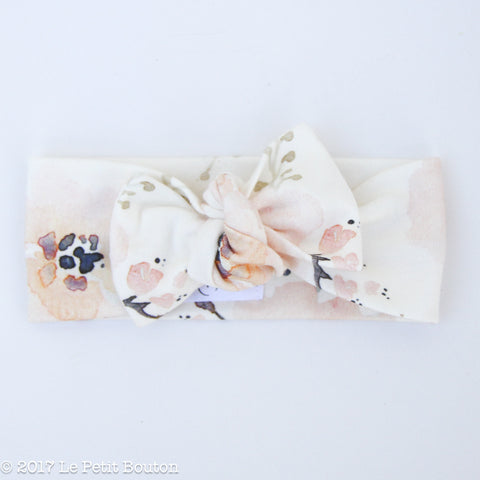 Organic Cotton Bow Knot Headband - Watercolor Whimsy