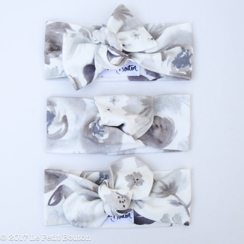 A17 Organic Cotton Bow Knot Headband - Grey Watercolor Floral