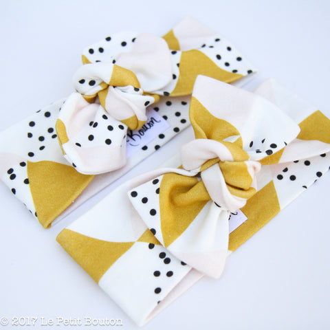 Organic Bow Knot Headband - Mustard, Pink and Monochrome Crush