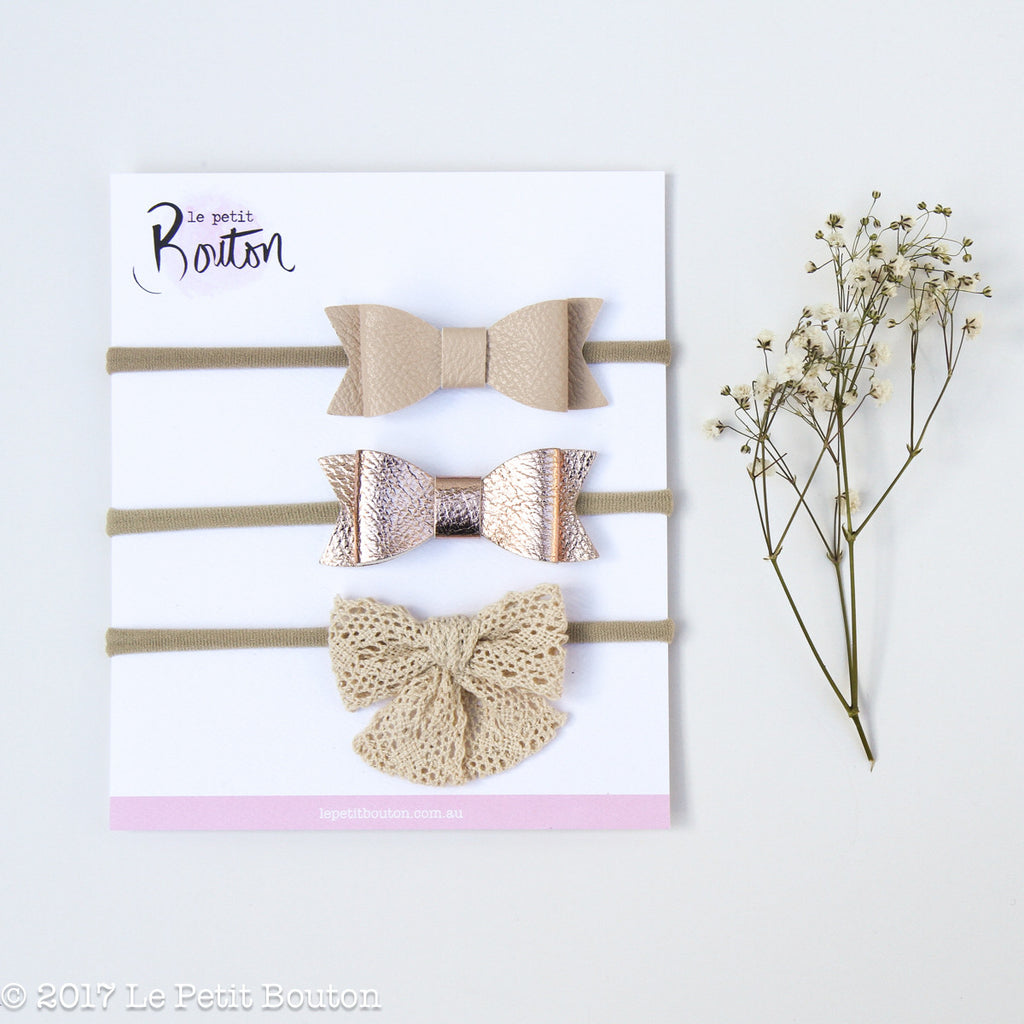 Winter 17 3 Bow Headband Set - Natural Whimsy
