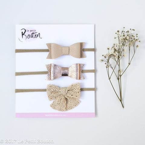 3 Bow Headband Set - Natural Whimsy