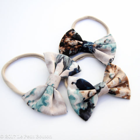 Winter 17 Large Linen Bow Headband - Winter Watercolour