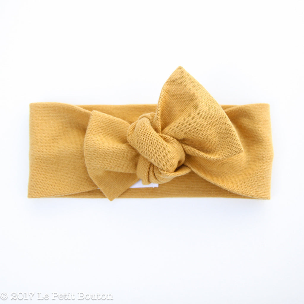 Winter 17 Bow Knot Organic Headband - Ribbed Mustard