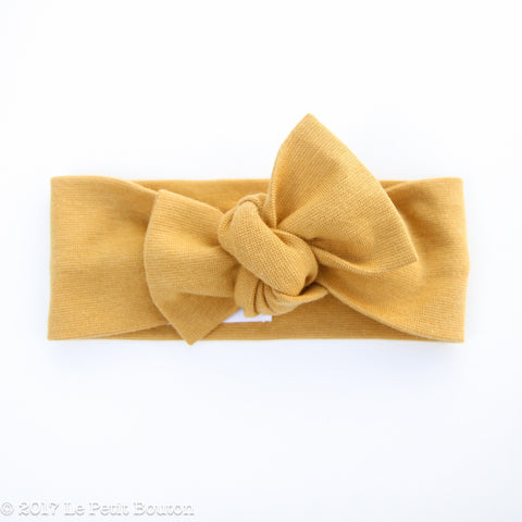Organic Cotton Bow Knot Headband - Ribbed Mustard