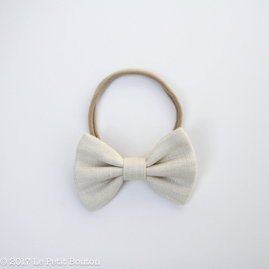 Winter 17 Large Linen Bow Headband - Natural