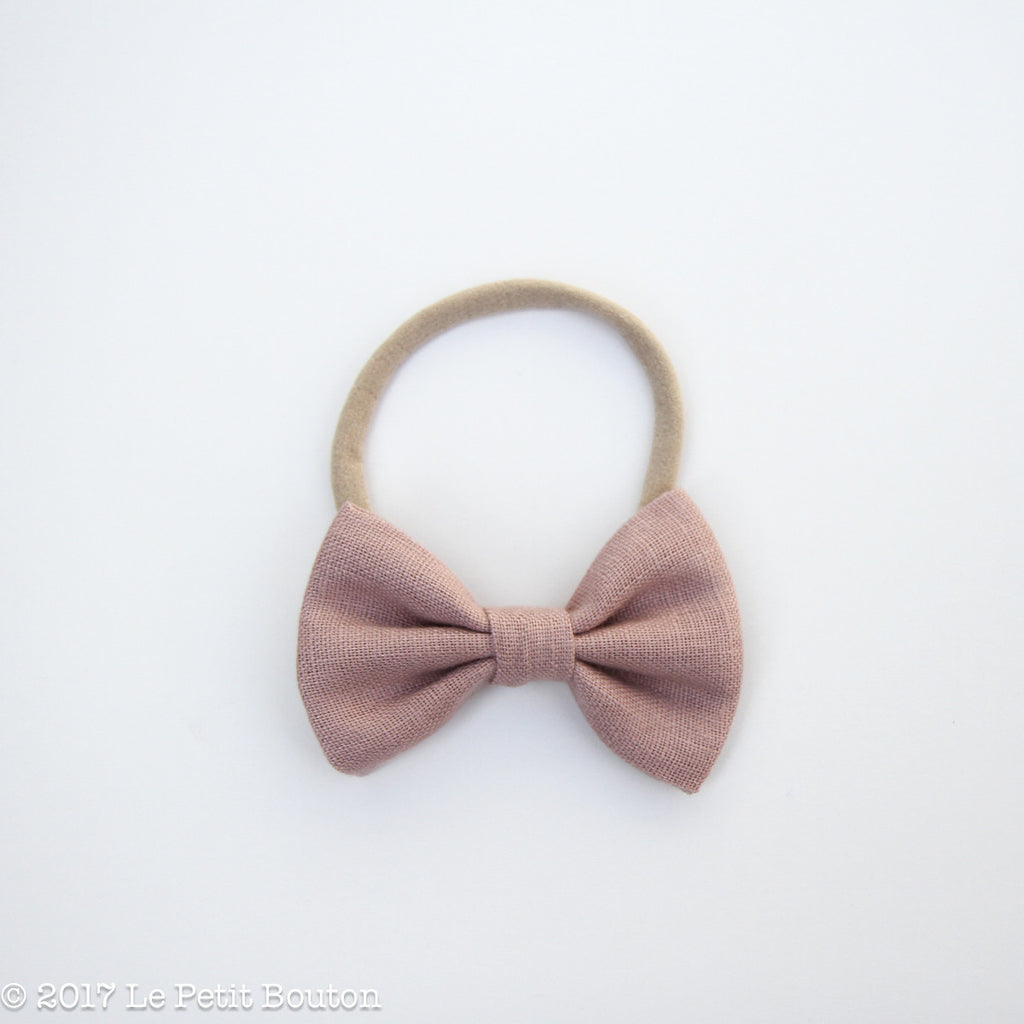 Large Linen Bow Headband - Dusty Pink