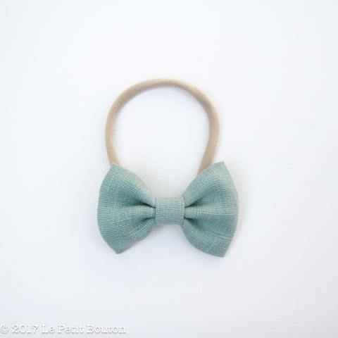 Large Linen Bow on Nylon Headband - Mosaic Blue